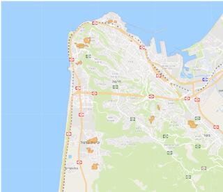 תרשים מתחמי פינוי בינוי בחיפה (מסומן בכתום)