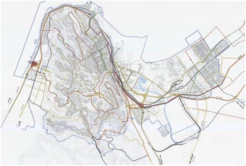 חלק מתשריט צירי התחבורה ומערכת הסעת המונים בחיפה