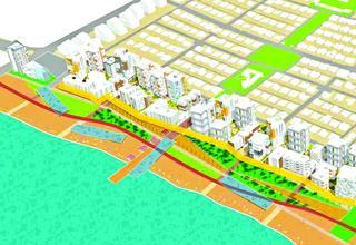 חזית הים מכיוון רח' טרומן, מתוך תוכנית שהוצגה לציבור ונמצאת באתר העירייה הדמיה באדיבות עיריית חיפה